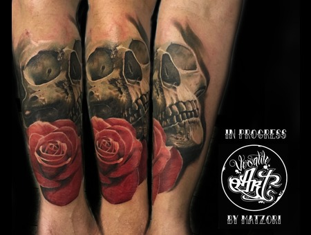Skull  Roses  Color  Colortattoo  Realistic Color Forearm
