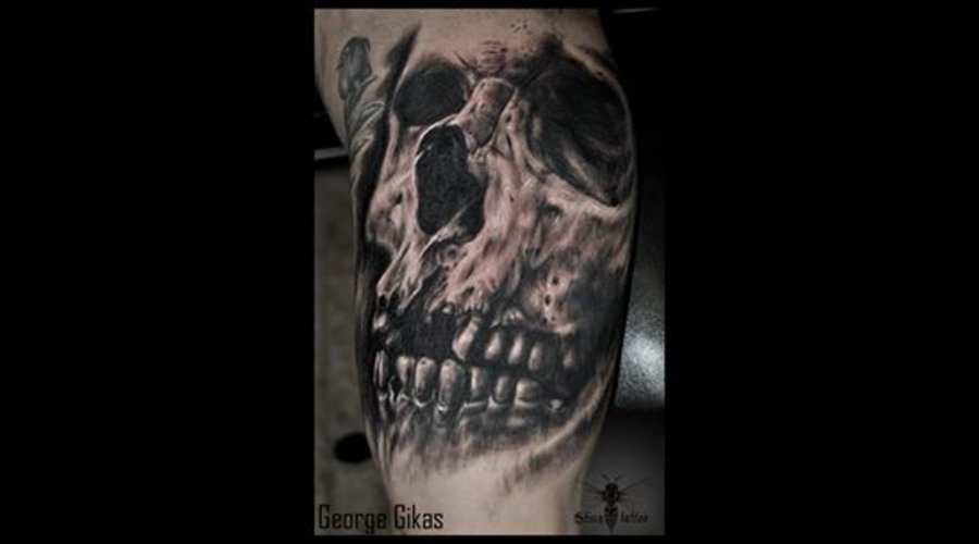Skull  Realistic Black Grey Arm