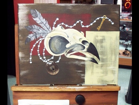 Acrylic  Paint  Bird  Skull