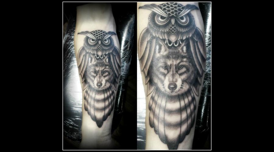 Owl & Wolf Black Grey Forearm