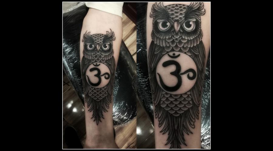 Owl  Black & Grey Black Grey Forearm