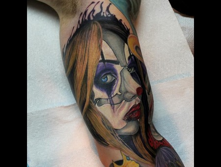 Clown  Girl  Realistic  Portrait Color Arm