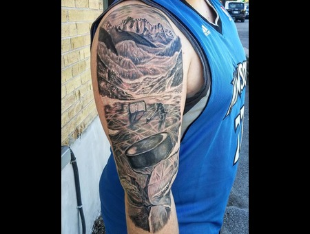 Realistic  Mountains  Ice  Hockey Player  Realism  Realistic Tattoo  Real Black Grey Arm