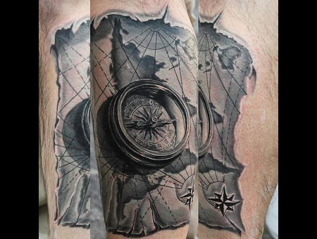 Compass  Map  Realism  Realistic Tattoo  3d Tattoo Black Grey Lower Leg