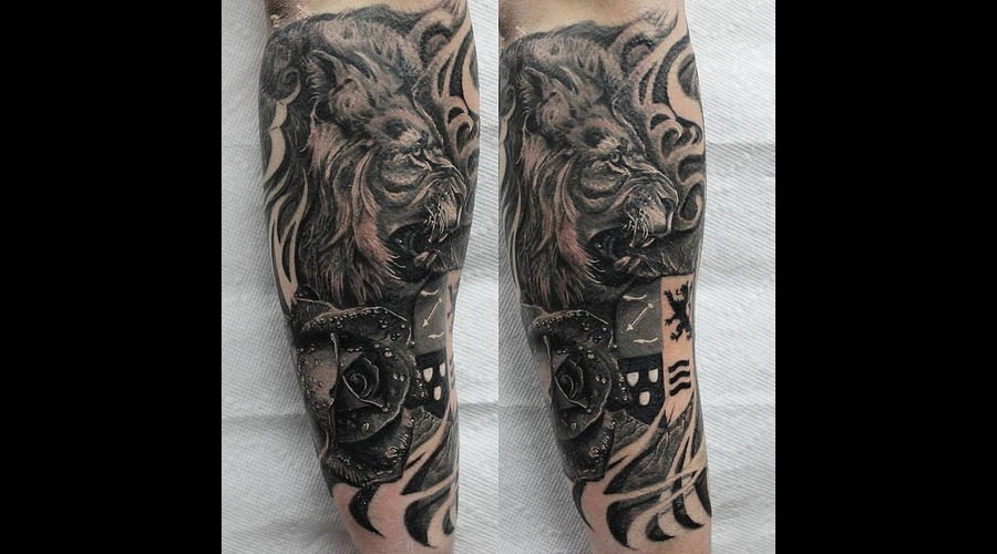 Lion  Rose  Family  Crest  Skin Tear  Realism  Hyper Realism  Realistic   Black Grey Forearm