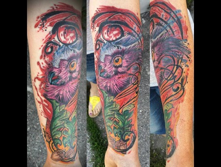 Cover Up  Owl  Watercolor  Abstract  Watercolor Color Forearm