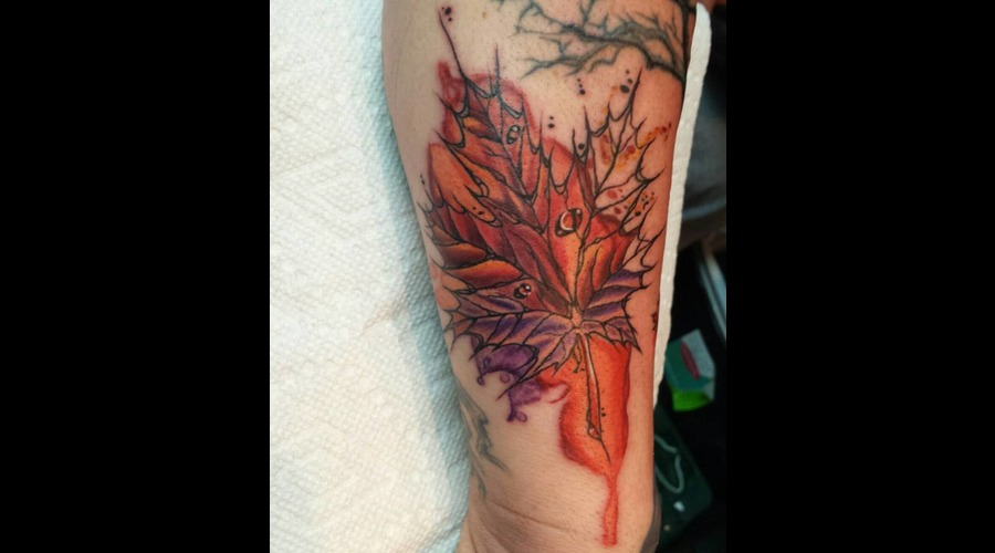 Abstract  Leaf  Watercolour  Watercolor  Maple Color Forearm