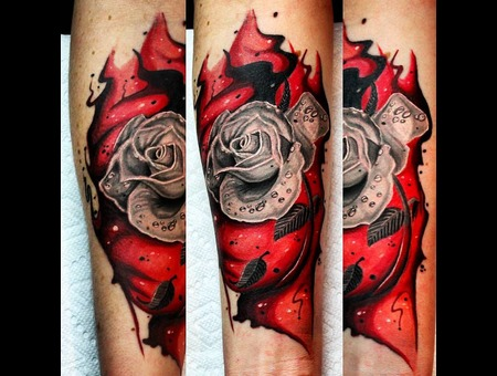 Rose  Flower  Realism. Realistic  Watercolour  Watercolor  Abstract Color Forearm