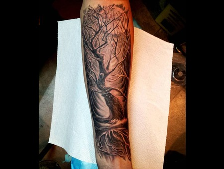 Tree  Forest  Roots  Realistic  Surrealism  Realism Black Grey Forearm