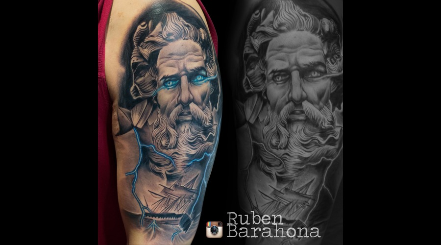 Poseidon Done At Paradise Tattoo Convention Black Grey Arm