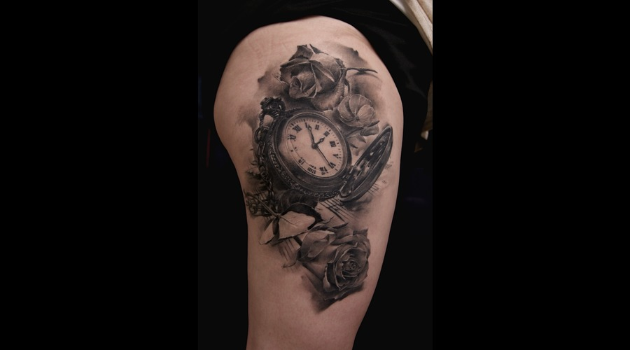 Clock  Watch  Roses Black Grey Thigh
