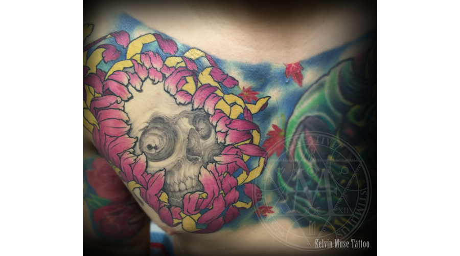 Skull Crysanthemum Tattoo Color Chest
