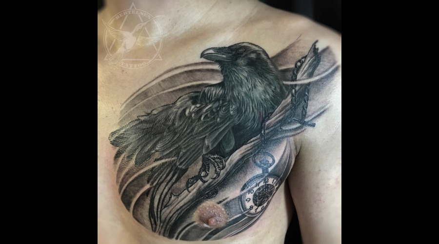 Raven  Pocket Watch  Jake Bertelsen Tattoo  Black And Grey  Black Grey Chest