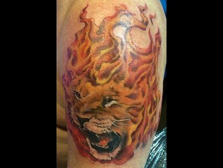 Lion Flames Portrait  Color Shoulder