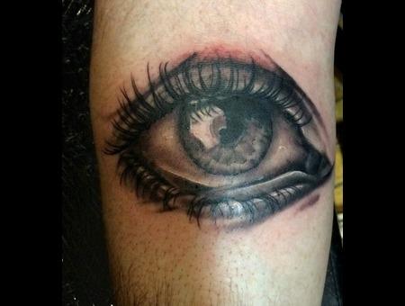 Eye Portrait Black Grey Forearm