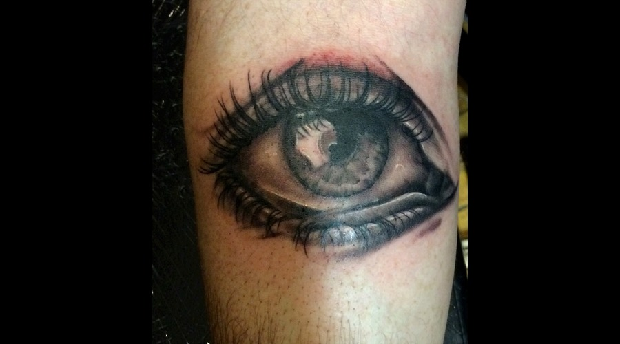 Eye Portrait Black Grey Forearm