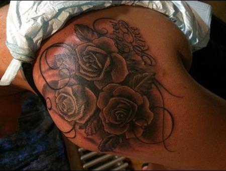 Roses Names Black Grey Shoulder