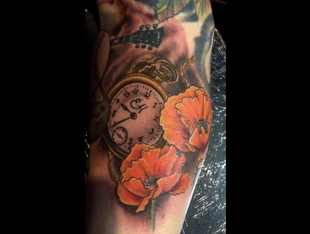 Poppies Pocket Watch  Color Forearm