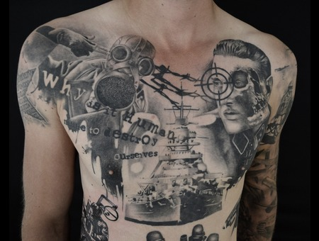 World War Tattoo Black Grey Chest