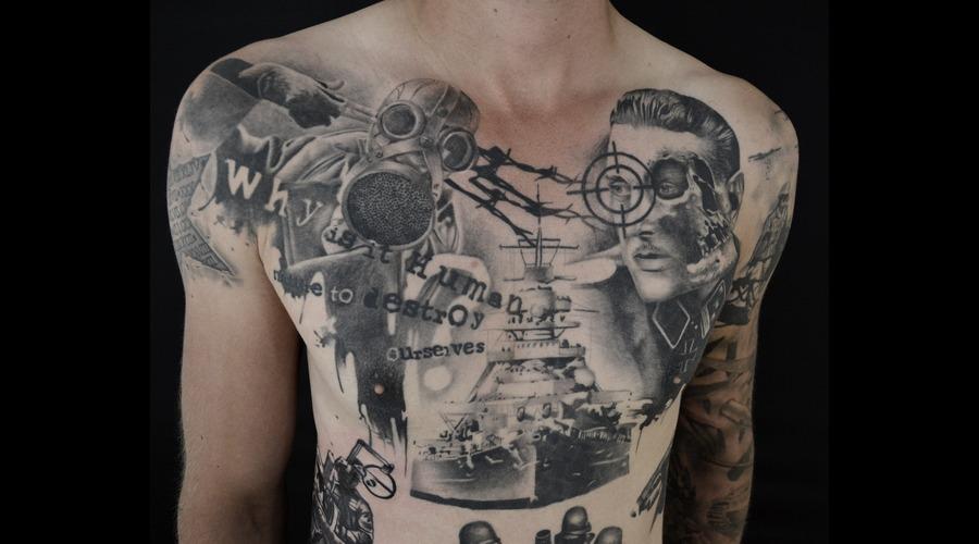 World War Tattoo Black Grey Chest