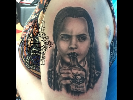 Wednesday Addams Girl Realistic Black Grey Arm