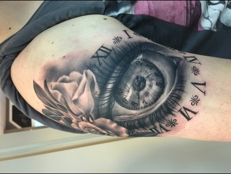 Eye Rose Flower Clock Realistic  Black Grey Arm