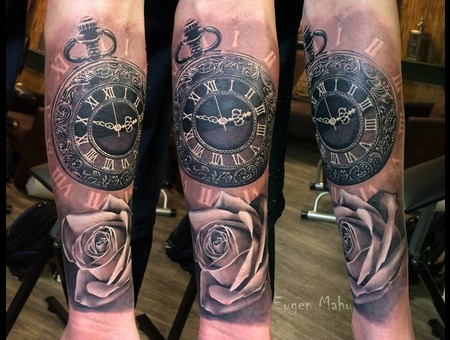 Tattoo  Art  Realistic  Clock  Rose Black Grey Forearm