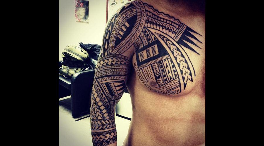 Tattoo  Art  Maori Black Grey Chest