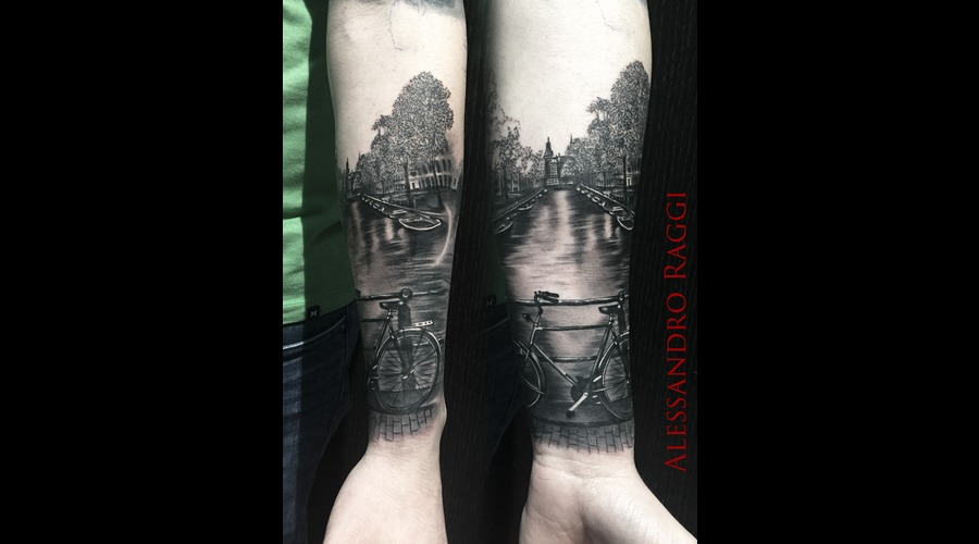 Realistic Amsterdam Dark Black & Gray Bicycle Channel Boat Black Grey Forearm