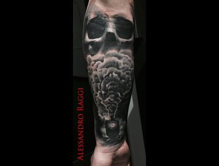Realistic Train Smoke Skull Pastel Gray  Black Grey Forearm