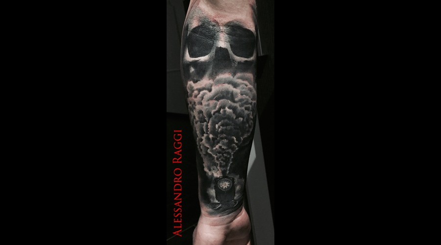 Realistic Train Smoke Skull Pastel Gray  Black Grey Forearm
