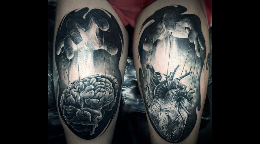 Hands Heart And Brain Black Grey Thigh