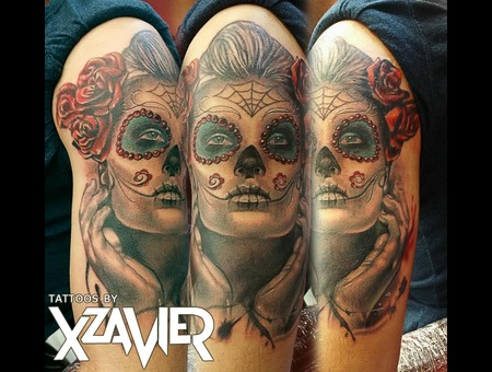 Dia De Los Muertos  Day Of The Dead  Roses Color Arm