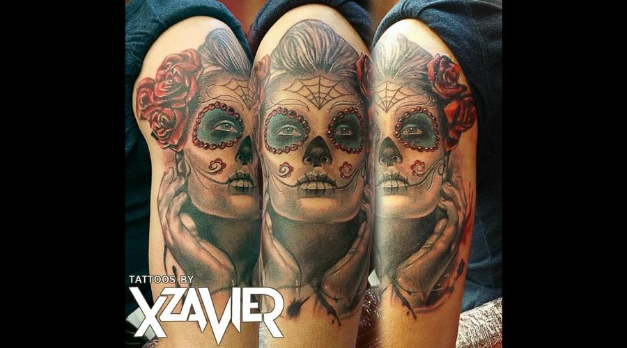 Dia De Los Muertos  Day Of The Dead  Roses Color Arm