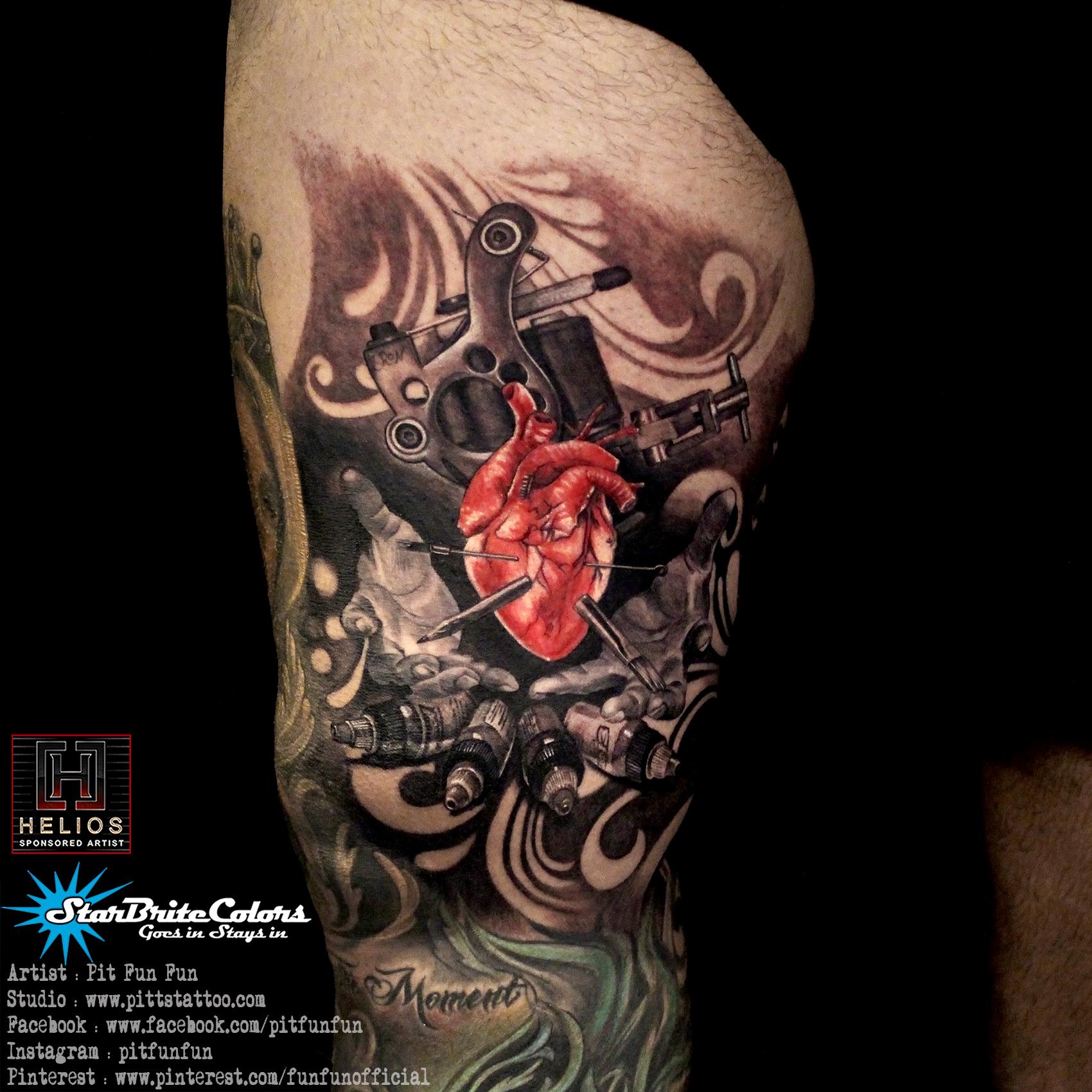 Tattoo Machines Color Black Grey Thigh