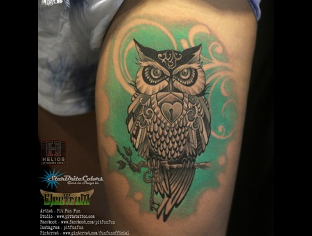 Owl Tattoo By Pit Fun Black Grey Thigh