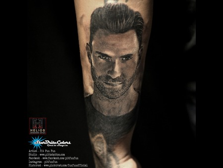 Adam Levine Portrait Tattoo Black Grey Forearm