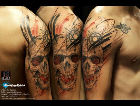 Sketch Style Skull Tattoo By Pit Fun Black Grey Arm
