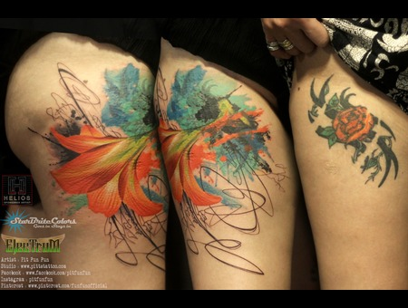 Watercolour Lily Cover Up Tattoo  Color Thigh