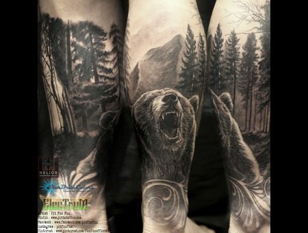 Realistic Bear Tattoo Black Grey Lower Leg