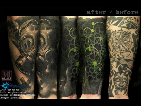 Gas Mask And Geometry Style Cover Up Tattoo By Pit Fun Black Grey Forearm