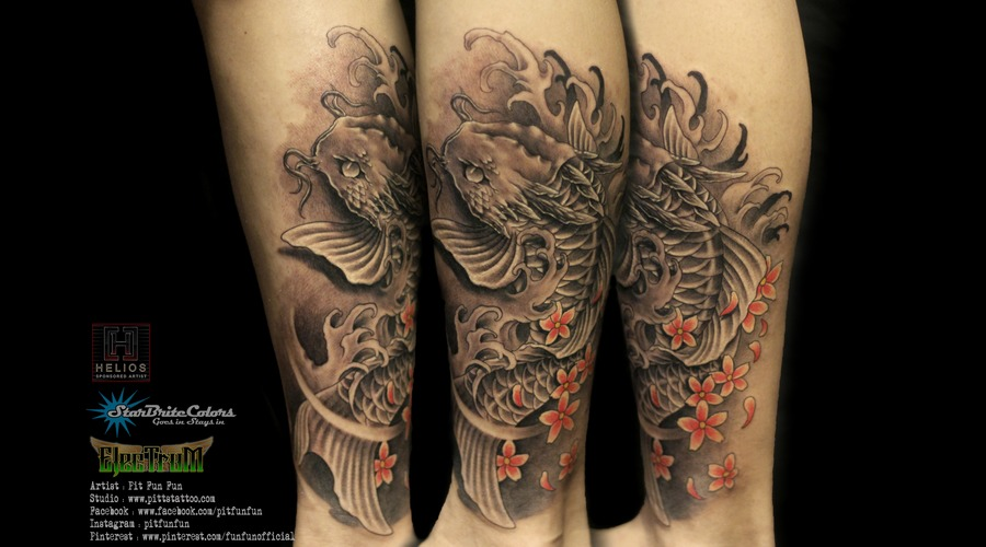 Japanese Koi Fish Tattoo  Black Grey Lower Leg