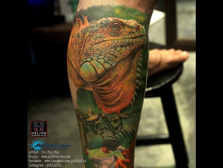 Realistic Iguana Tattoo  Color Lower Leg