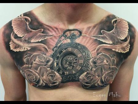 Tattoo  Realistic  Art  Clock  Roses Black Grey Chest