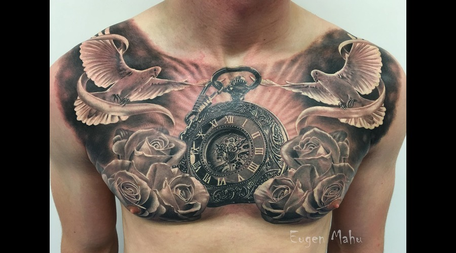Tattoo  Realistic  Art  Clock  Roses Black Grey Chest