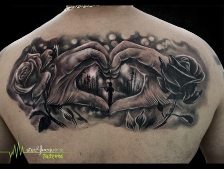 Hands  Love  Forest  Boy  Rose  Leafes  Flower  Black  Lights Black Grey Back