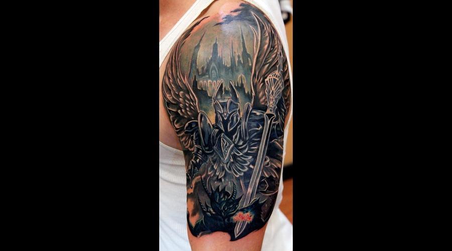 Angel  Devil  Good  Evil  Archangel  Fight  Sword  Holy  War  Awesome   Color Arm