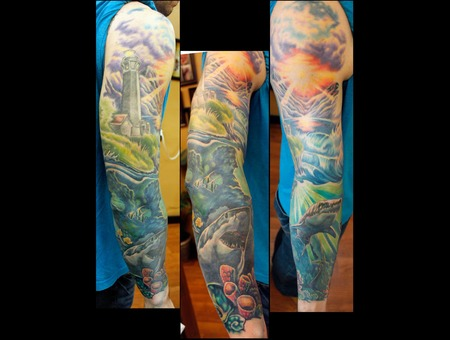 Lighthouse  Shark  Sea  Ocean  Sleeve  Awesome  Colorful  Badass   Color Arm