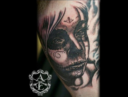 Sugar  Skull  Sugar Skull  Girl  Hot  Face  Portrait  Beautiful  Badass   Black Grey
