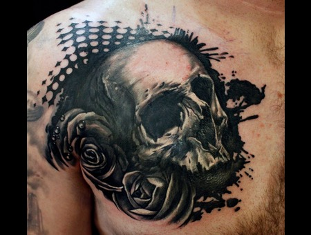 Skull  Black And Grey  Awesome  Badass  Rose  Roses  Realistic  Detailed   Black Grey Chest